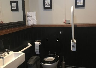 Image - disabled toilet, two hand rails, adjustable rail to the right and emergency cord